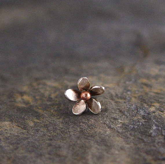 Helix Plumeria Flower Earring - Sterling silver and Bronze Size 7-8mm, Cartilage Earring, Hawaiian frangipani,