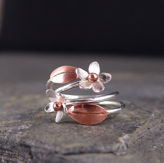 Plumeria Adjustable Ring, Copper leaf and Plumeria flower, Gifts for Her, Gifts under 50, Last one, Ready to ship