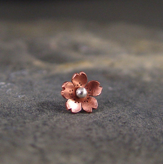 Reserve for Alexandra - Cherry Blossom Helix Earring 7-8mm - POINTED petals,  Gifts for her, Gifts under 15,