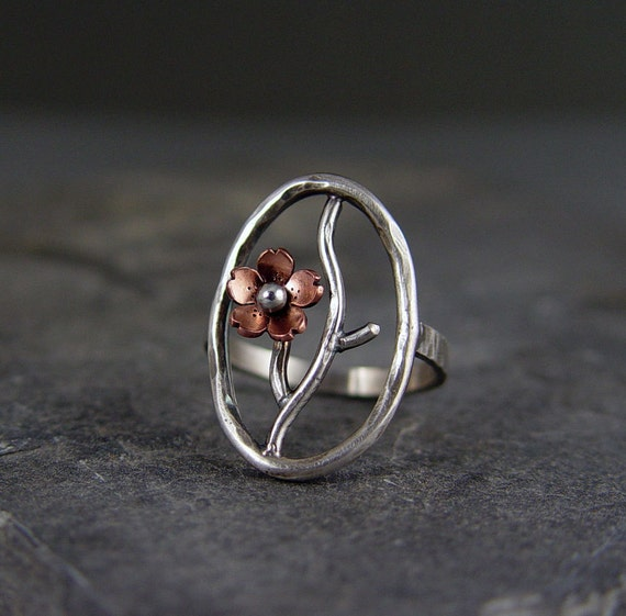 Cherry Blossom Cocktail Ring, Branch Ring, Twig Jewelry, Gifts under 100, Gifts for her, Size 7, Sakura Ring,One of a Kind