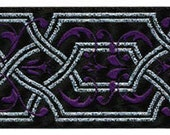 5 yards Purple Silver Black Gothic Jacquard Trim Ribbon