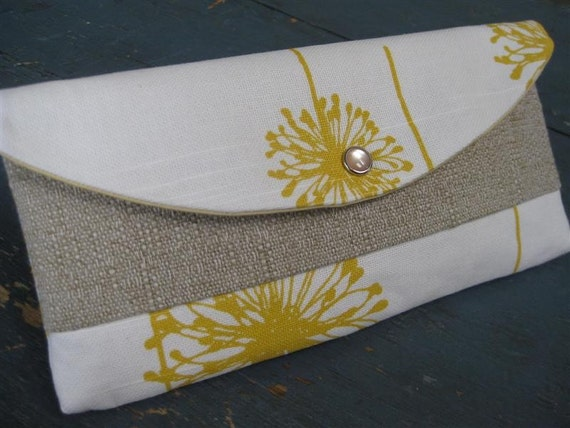 Gift Idea..The Weekend Clutch / Dandelion Yellow w/ Luxury Linen