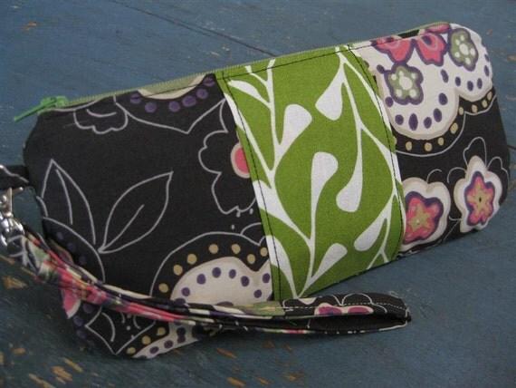 Discontinued/SALE...Cassie Zippered Clutch/Wristlet w/ Detachable Wrist Strap /  Japanese Floral