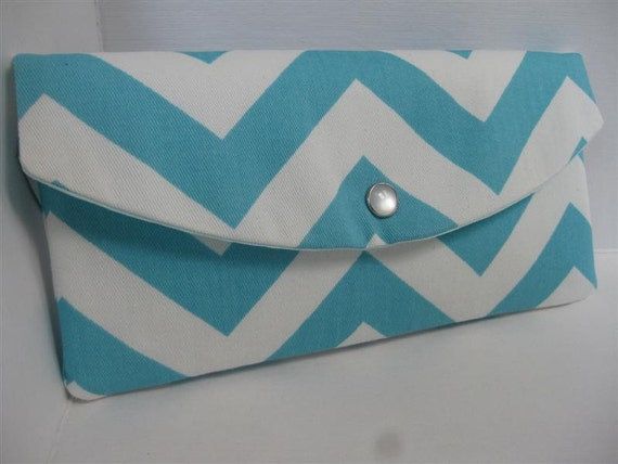 Gift Idea...The Jenna Clutch / Perfect for your Bridesmaids or any Gift Giving / Chevron in Girly Blue