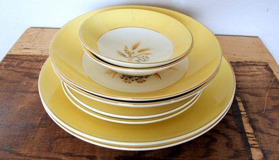 RESERVED for CAROLINE  Autumn Gold Vintage Dishes
