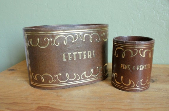 Vintage Letter Box and Pen and Pencil Storage- Faux Leather Look