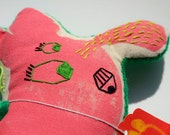 handmade handpainted BEST BEAST doll no. 8 with embroidered detail, pink and green