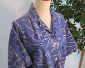80s blue, black and white abstract print cotton camp shirt