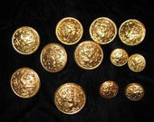 A Dozen Vintage Brass Buttons