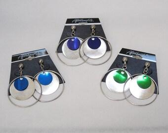 3 pair 80s hoops and disks earrings for pierced ears
