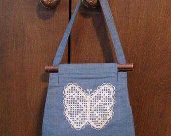 Vintage handmade denim handbag with embroidered butterfly