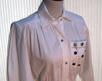 Vintage long white casual cotton dress with rhinestones and a full skirt