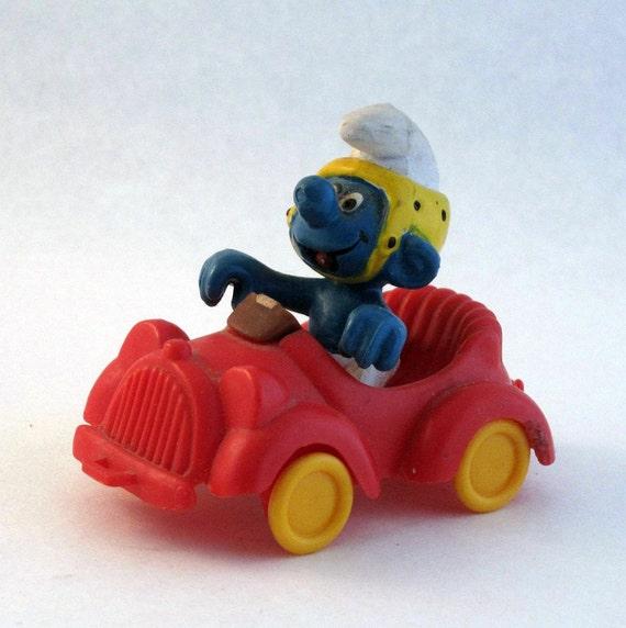 Smurf in car - Peyo Schleich toy from 1978
