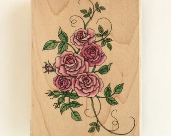 Romantic Rose Large Bouquet Rubber Stamp