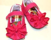 Hot Pink - Linen Flats - Baby Girl Shoes - Booties  - Maryjanes