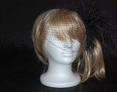 Black Birdcage veil, Diamond / Rhinestone veil, Crystals
