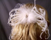 Curling Ostrich Feather Hair Clip,Birdcage Accent, Diamond Center, WHITE, IVORY, BLACK