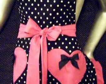 Apron,Pin-up, Retro,50's, Rockabilly, Polka-dots, APRONS Fits Plus size too, Pick your Color