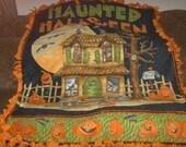 Haunted House Halloween Panel Orange Back Fleece Tie Blanket No Sew Fleece Blanket 48x60 Approximate size