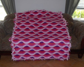 Wavy Stripes Pink White Purple Light Pink Back Fleece Tie Blanket No Sew Fleece Blanket No Sew Throw Fleece Throw 60x72 Approximate size