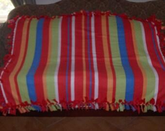 Rainbow Stripes Red Back Fleece Tie Blanket No Sew Fleece Blanket No Sew Throw Fleece Throw Knotted Blanket 48x60 Approximate size