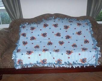 Bears in Overalls Blue  & White Stripes Blue Back Fleece Tie Blanket No Sew Fleece Blanket Fleece Throw 48x60 Approximate size