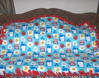 Picnic Bread Milk Strawberries on Blue Red Back Fleece Tie Blanket No Sew Fleece Blanket Fleece Throw 48x60 Approximate size