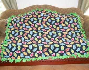 Multi color Crayons on Black Green Back Fleece Tie Blanket No Sew Fleece Blanket Fleece Throw Knotted Blanket 48x60 Approximate size