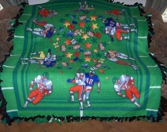 Football Players Panel on Green Black Back Football Blanket Fleece Tie Blanket No Sew Fleece Blanket Fleece Throw No Sew Throw 60x72 Approx.