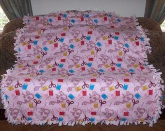 Sewing Tools Sewing Supplies on Light Pink Pale Pink Back Fleece Tie Blanket No Sew Fleece Blanket Fleece Throw No Sew Throw 60x72 Approx.