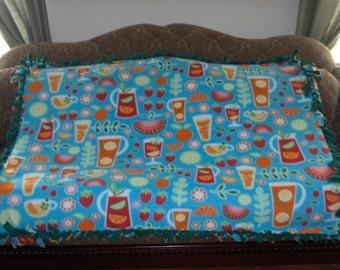 Fruits Pitchers Glasses on Blue Green Back Fleece Tie Blanket No Sew Fleece Blanket Throw Blanket 48x60 Approximate size
