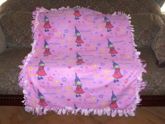 Girl Wizards on Pink Light Pink Back Abracadabra Magic Wand Fleece Tie Blanket No Sew Fleece Blanket Fleece Throw 48x60 Approximate size