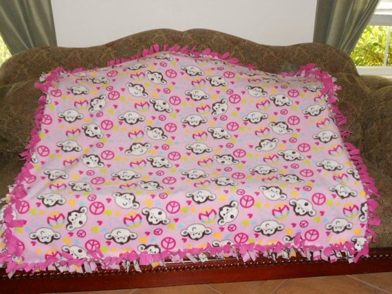 Fleece Tie Blanket Monkey Faces Peace Signs Hearts on Light Pink Hot Pink Back 48x60