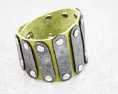 Leather Cuff - Hendrix Inspired (Lime and Gray)