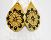 Leather Tattoo Earrings (Henna Design on Curry Yellow)