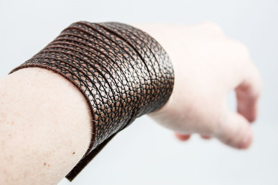 SALE - Wide Leather Cuff - Sliced Strips (Dark Chocolate Brown)