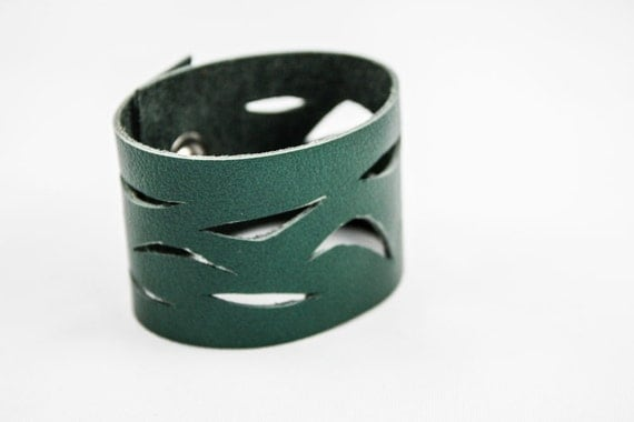 Leather Cuff - Cutouts (Emerald Green)