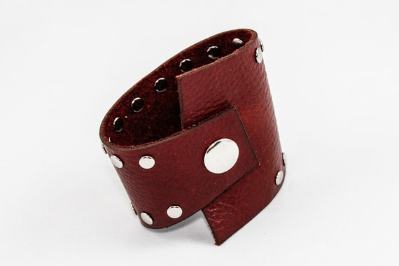 Asymmetrical Leather Cuff (Dark Red w/ Studs)