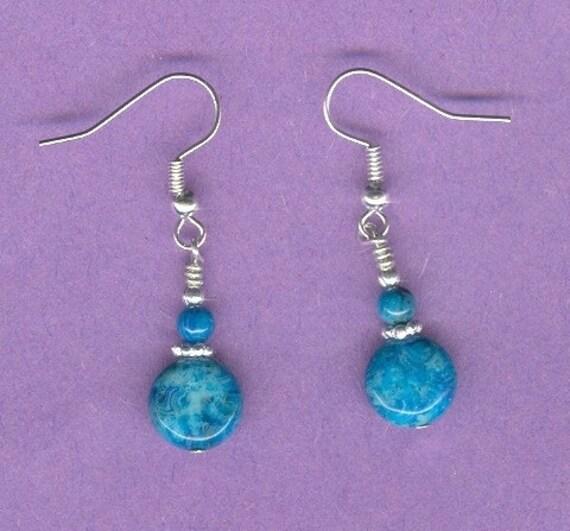HEART SALE...Blue Crazy Lace Agate Earrings