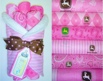 Set of 6 Totally Different Deluxe Burp Cloths using John Deere Pink Fabric - Perfect for Baby Girl
