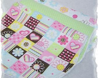 Set of 3 Contoured Terry Cloth n Flannel Burp Cloths - Pink, Brown n Green Hearts n Flowers