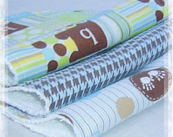 Set of 3 Contoured Terry Cloth n Flannel Burp Cloths - Brown, Blue and Green