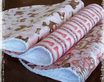 Set of 3 Contoured Terry Cloth n Flannel Burp Cloths -  Pink n Brown Puppy Dogs Boutique quality