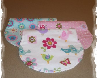 Set of 3 Contoured Terry Cloth n Flannel Burp Cloths -  Flowers n Birds - So Sweet