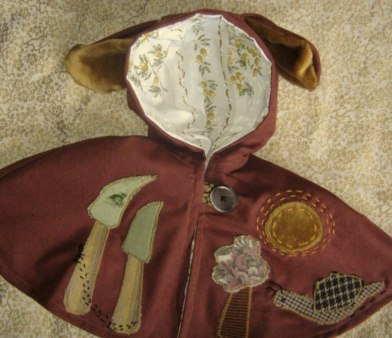 puppy ear cape with applique