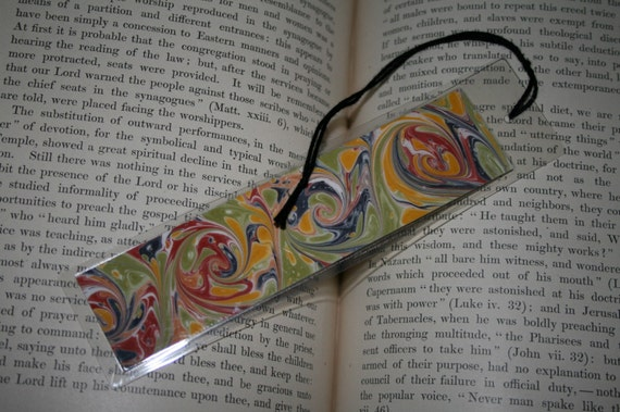 Marbled Paper Book Mark with Gray, Green, Yellow Ochre, and Mars Red French Curl Pattern