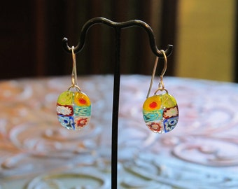Millefiori Fused Glass Earrings, 1196