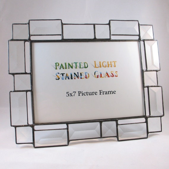 5x7 stained glass bevel picture frame