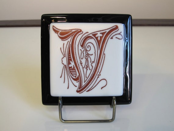 Fused Glass Images, V Initial, 1308