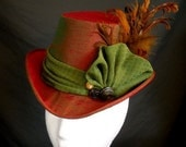 Victorian Ladies Top Hat Red & Green Silk Elizabethan Feathers